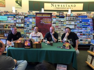 Second author event, chatting about writing and publishing with Kane, Kent and Ed.