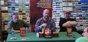 Our first author event, talking about the books with Kane and Kent.