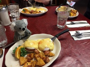 Sad Koala's final breakfast. Eggs Benedict, a local favorite.